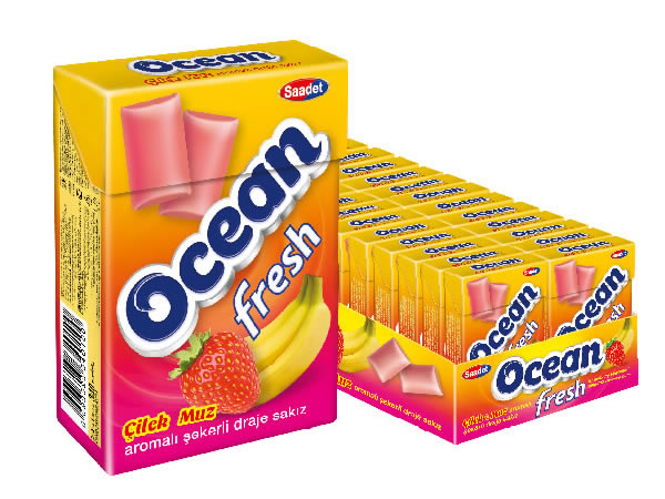 Ocean Fresh Strawberry Banana Flavoured Sugared Dragee Gum