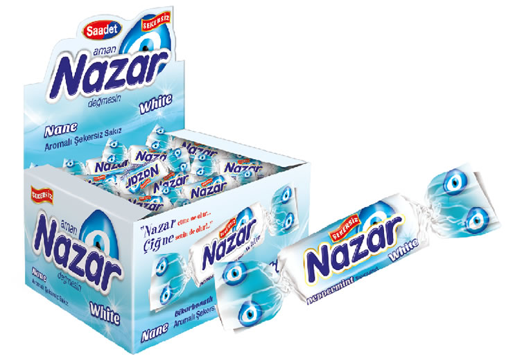 Nazar White Peppermint Flavoured Sugar Free Gum with Bicarbonate