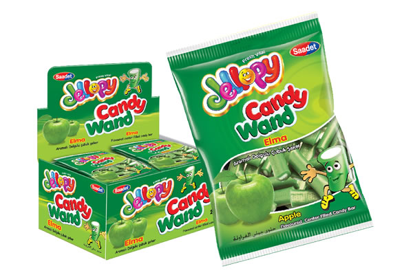Jellopy Candy Wand Apple Flavoured Center Filled Candy Bar
