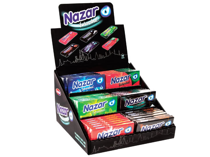 Nazar İstanbul Assorted Flavoured Suger Free Gum / with Stand