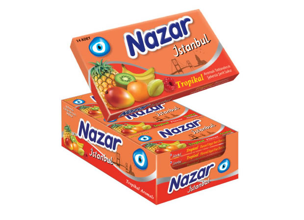 Nazar İstanbul Tropical Flavoured Sugar Free Chewing Gum