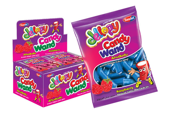 Jellopy Candy Wand Raspberry Flavoured Center Filled Candy Bar